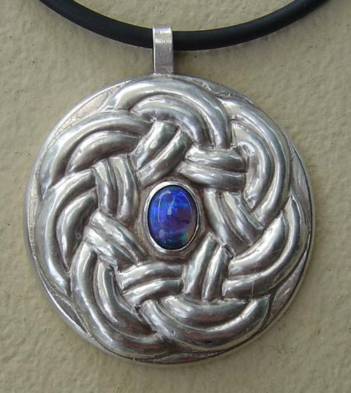 Silver Opal Knot Motif Pendant