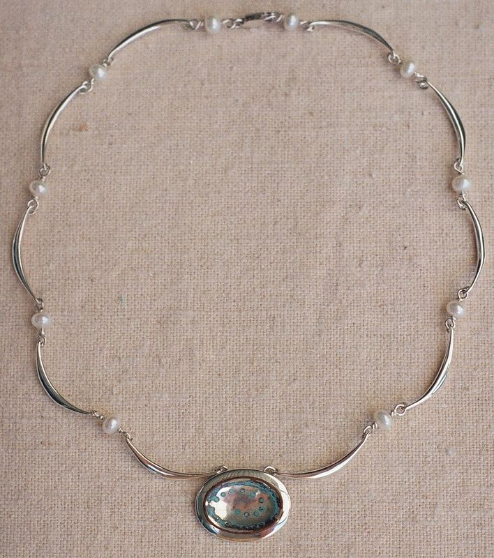 Mokume Moonpool Forged Silver Link Necklace