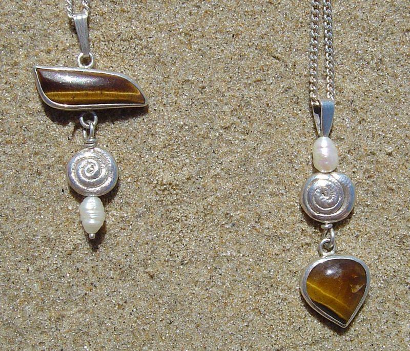 2 Silver, Tigereye and Pearl Pendants